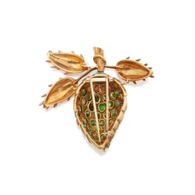 View 2. Thumbnail of Lot 482. Schlumberger for Tiffany & Co. | Gold, Demantoid Garnet and Turquoise Clip-Brooch.