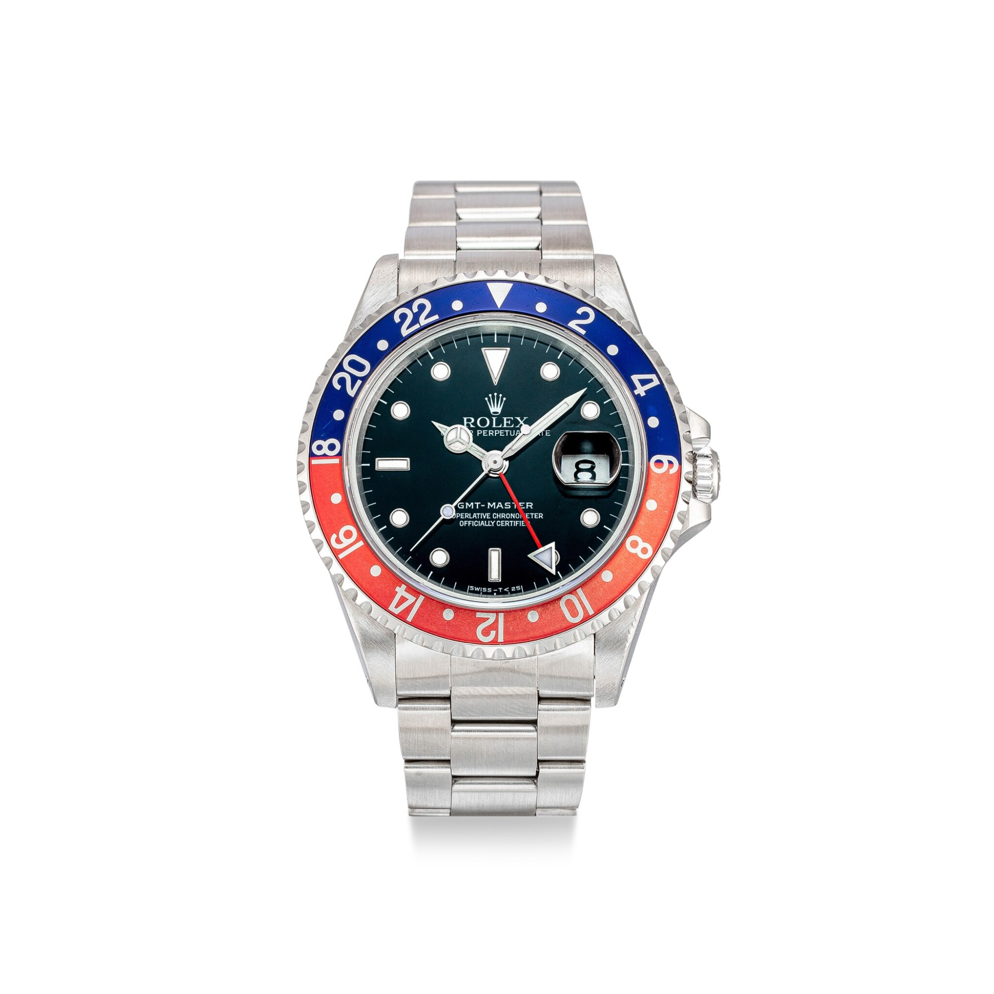 View full screen - View 1 of Lot 605. ROLEX |  GMT-MASTER, REFERENCE 16700,  A STAINLESS STEEL DUAL TIME ZONE WRISTWATCH WITH DATE AND BRACELET, CIRCA 1991.