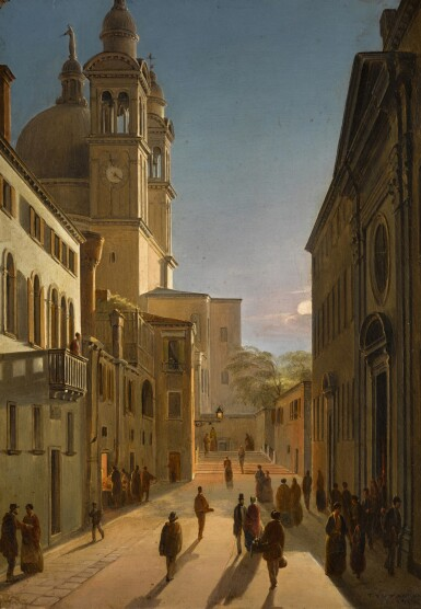 View 1. Thumbnail of Lot 75. Venice, the Rio Terrà Catecumeni, with Santa Maria della Salute in the Distance.