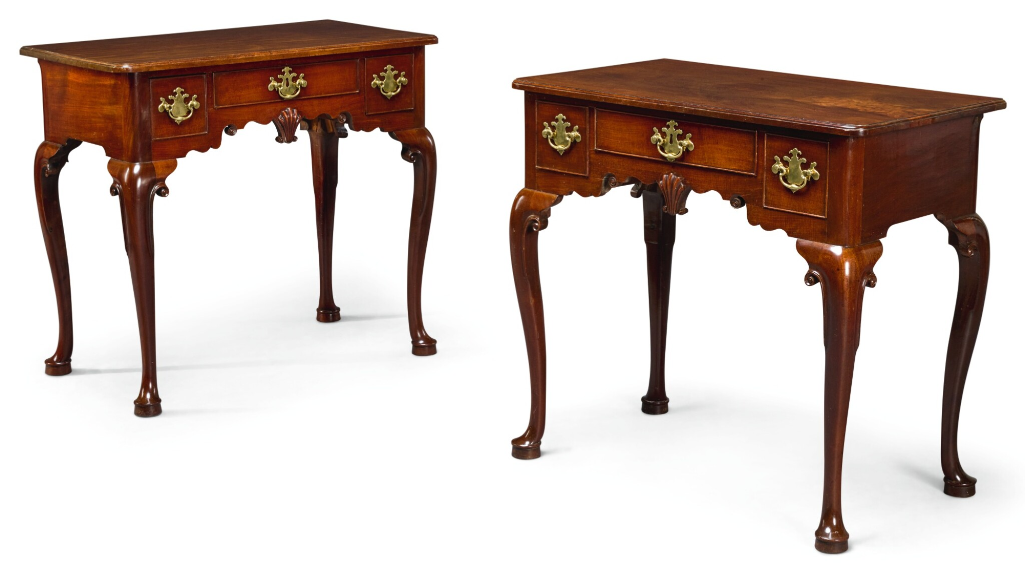 View full screen - View 1 of Lot 2. A PAIR OF GEORGE II WALNUT LOWBOYS, CIRCA 1740.