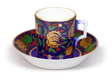 View 1. Thumbnail of Lot 148. A Soviet Porcelain Cup and Saucer, State Porcelain Factory, Petrograd, 1922.