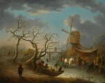 ANDRIES VERMEULEN | Winter landscape with figures skating on a river before a wooden bridge and a windmill