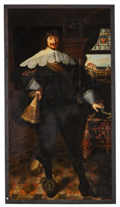View 3. Thumbnail of Lot 139. Portrait of Johann Jobst Schmidtmaier von Schwarzenbruck (1611-47); Portrait of his wife, Anna Maria (1605-64), both standing, full-length, in interiors with landscapes visible through windows beyond.