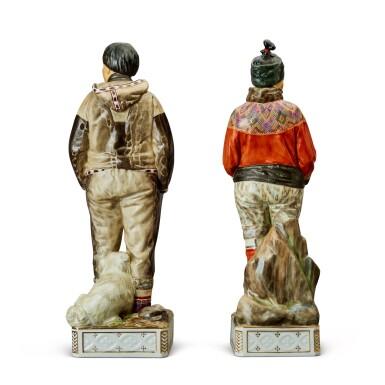 View 2. Thumbnail of Lot 148. Carl Martin-Hansen for the Royal Copenhagen Factory, 1877-1941    Pair of 'Gronland' Figures.