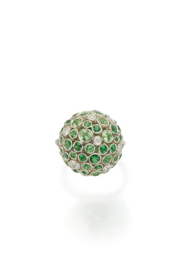 View 1. Thumbnail of Lot 14. TSAVORITE GARNET AND DIAMOND RING, TIFFANY & CO..