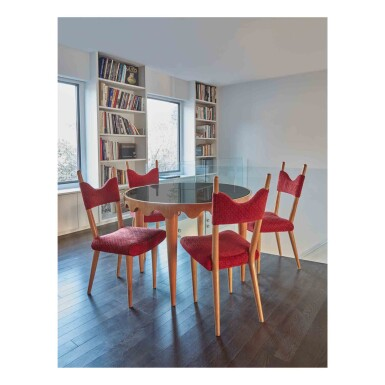 "View 1. Thumbnail of Lot 403. ""Ondulation"" Table and Four ""Baltique"" Side Chairs."