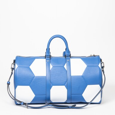 View 2. Thumbnail of Lot 110. Blue and White World Cup 50 Keepall Bandouliere in Apollo Leather with Palladium Brass Hardware, 2018.