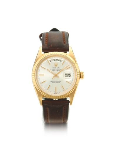 ROLEX | REF 1803 DAY-DATE, A YELLOW GOLD AUTOMATIC CENTER SECONDS WRISTWATCH WITH DAY AND DATE CIRCA 1966