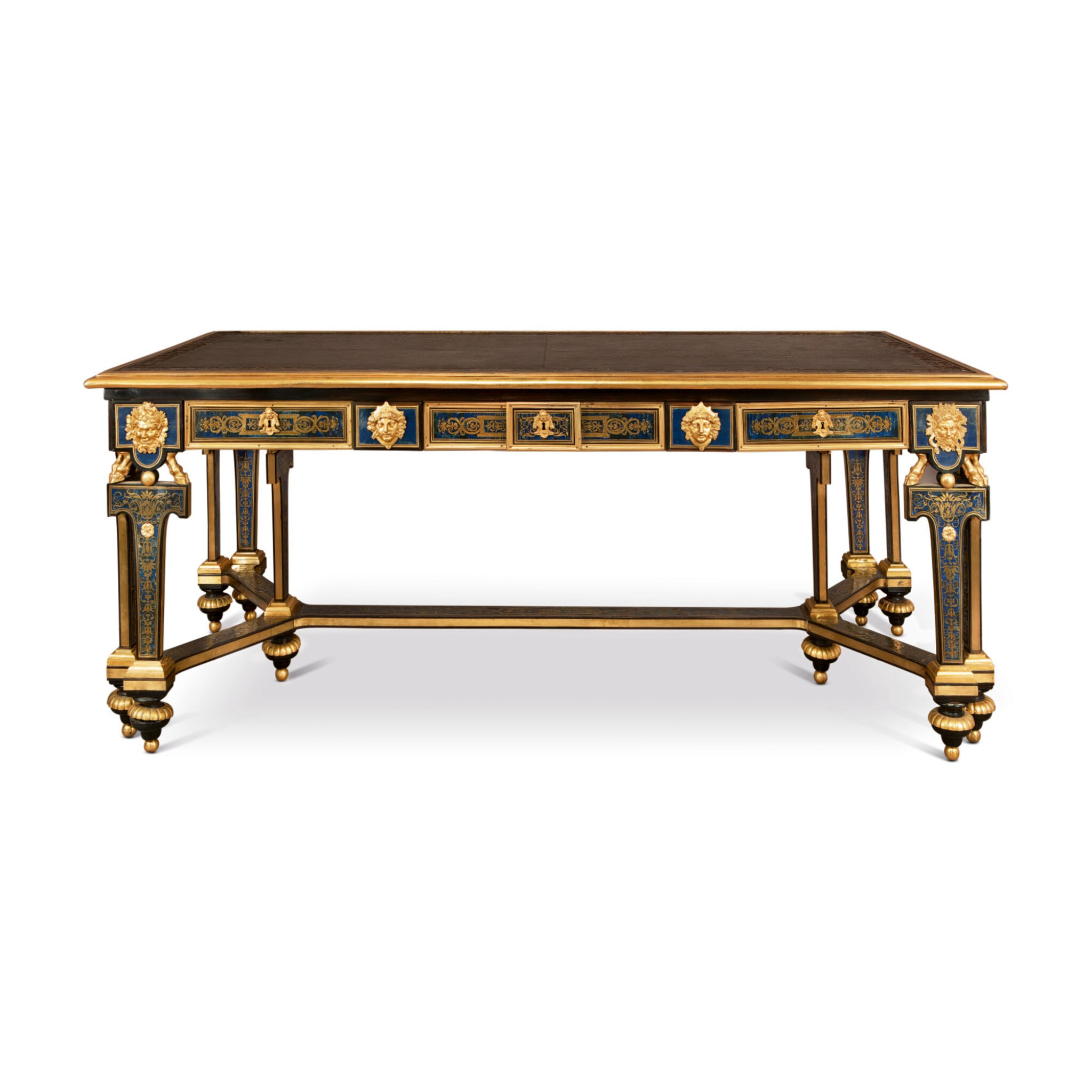 View full screen - View 1 of Lot 676. A LOUIS XIV STYLE GILT-BRONXE MOUNTED AND BRASS-INLAID EBONY AND BLUE-STAINED HORN BOULLE MARQUETRY LIBRARY TABLE, LATE 19TH/EARLY 20TH CENTURY.