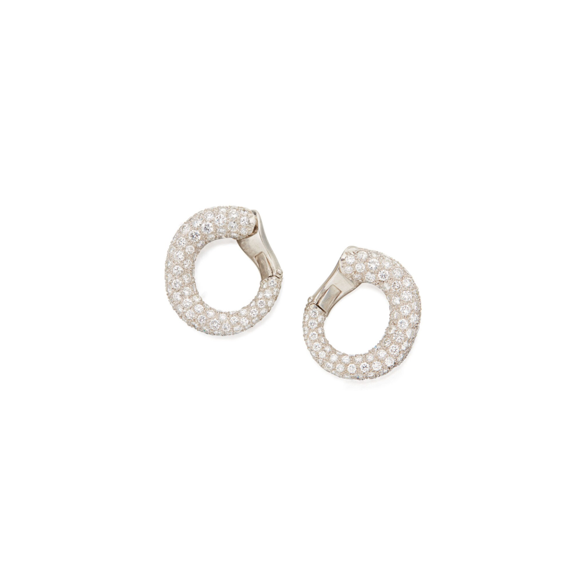 View 1 of Lot 109. PAIR OF DIAMOND EARCLIPS, CARTIER.