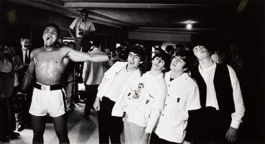 View 1. Thumbnail of Lot 27. CHRIS SMITH | Ali and the Beatles, 1964, mural-sized silver print, signed & numbered 7/20.