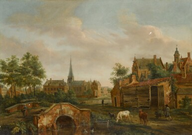HENDRIK FRANS DE CORT | A town scene with cattle by a bridge