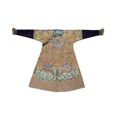 View 1. Thumbnail of Lot 3604. A brown-ground 'dragon' kesi robe, jifu Qing dynasty, 18th century | 清十八世紀 駝色緙絲八吉祥雲蝠九龍吉服袍.