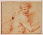 CIRCLE OF ANDREA SACCHI | A nude, half length, seen from the side, his arm extended to the right