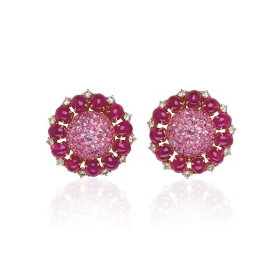 PAIR OF RUBY, PINK SAPPHIRE AND DIAMOND EAR CLIPS, MICHELE DELLA VALLE