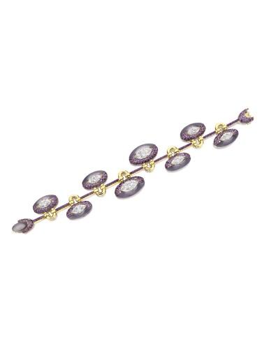 View 1. Thumbnail of Lot 1654. Sotheby's Diamonds by Joseph Ramsay   'Padlock' Diamond, Chalcedony and Purple Sapphire Bracelet   「蘇富比鑽石」Joseph Ramsay設計  「同心扣」鑽石 配 玉髓 及 紫色剛玉 手鏈 (  八顆鑽石共重10.13克拉 ).