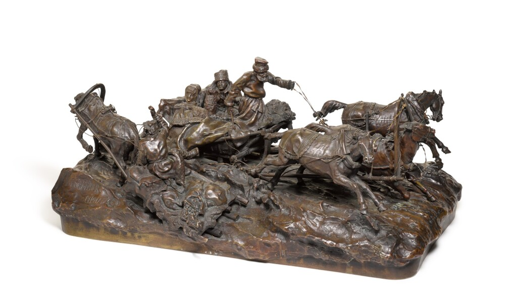 SPEEDING TROIKA PASSING A PEASANT SLEIGH: A BRONZE FIGURAL GROUP, CAST BY WOERFEL AFTER THE MODEL BY VASILII GRACHEV (1831-1905), 19TH CENTURY
