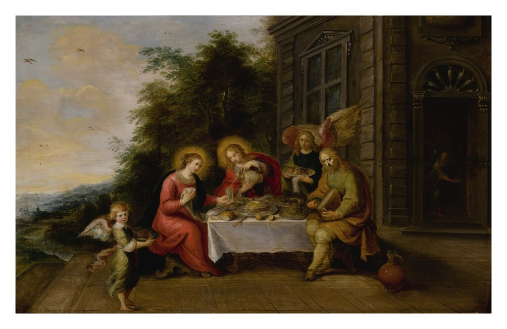 FRANS FRANCKEN THE YOUNGER     THE HOLY FAMILY DINING OUTDOORS WHILE SERVED BY ANGELS