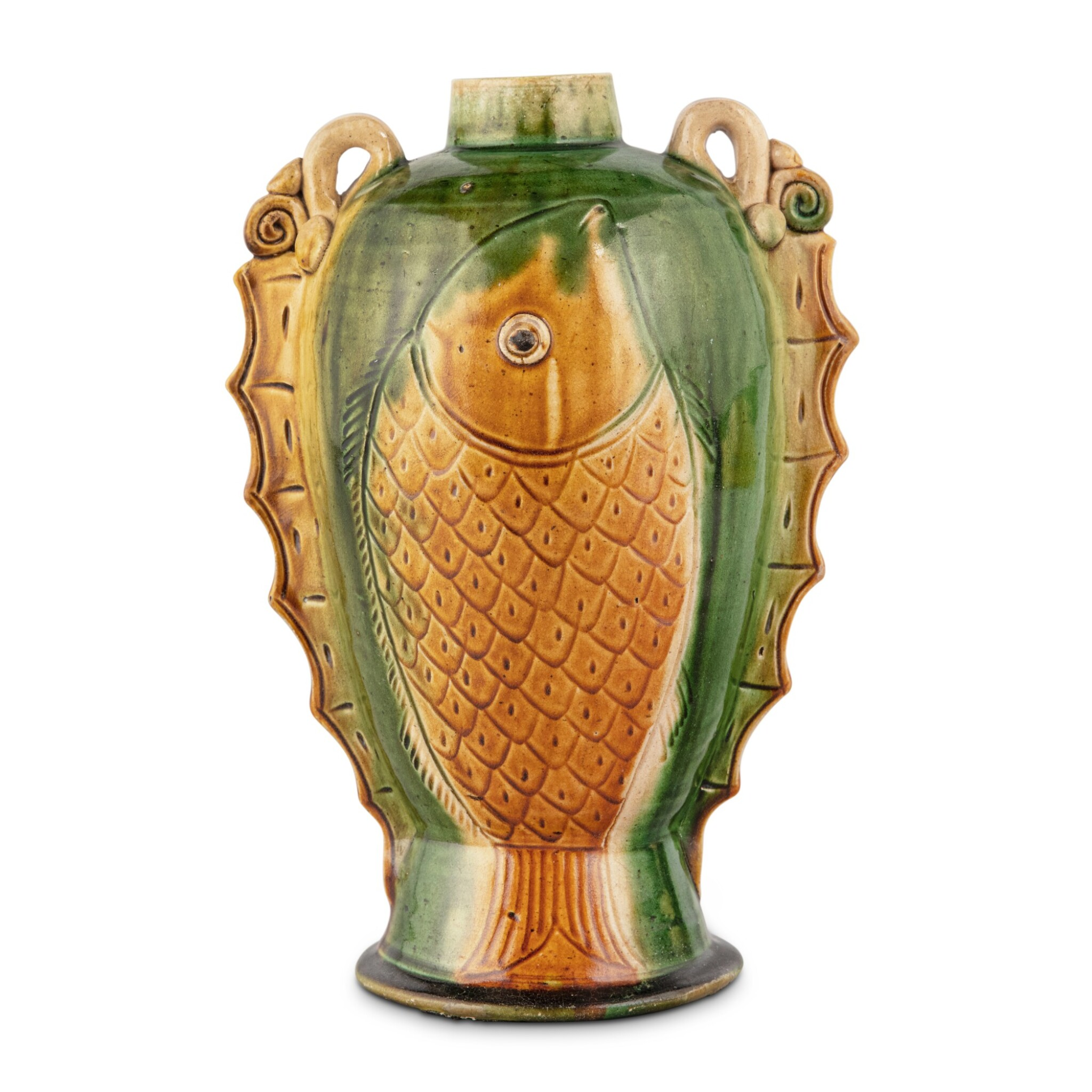 View full screen - View 1 of Lot 178. A sancai-glazed pottery 'fish' vase, Tang - Liao dynasty | 唐至遼 三彩魚紋雙繫壺.