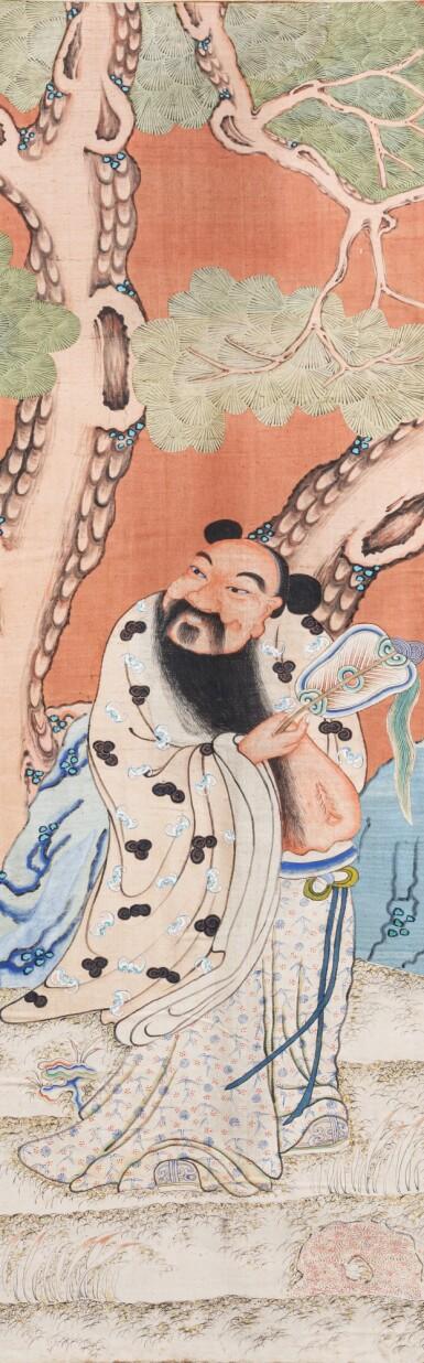 View 4. Thumbnail of Lot 222. Rare ensemble de six kesi tissés et peints Dynastie Qing, XIXE siècle | 清十九世紀 紅地緙絲仙人圖掛屏一組六件 | A rare set of six coral-ground woven and painted kesi scrolls depicting the Daoist Immortals, Qing Dynasty, 19th century.