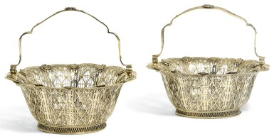 A PAIR OF CONTINENTAL SILVER FILIGREE BASKETS, UNMARKED, PROBABLY 18TH CENTURY