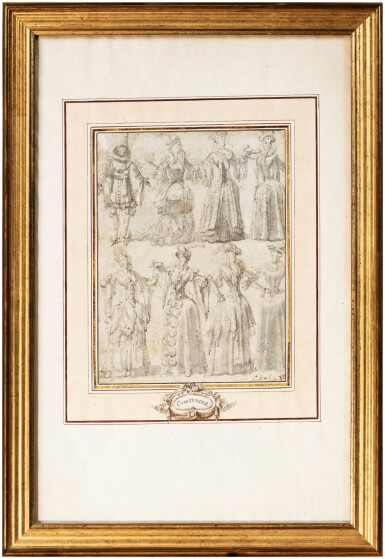 View 8. Thumbnail of Lot 25. A pair of double sided drawings: Costume designs (recto); Arabesques designs (verso).