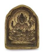 AN INSCRIBED BRONZE MOULD OF SIMHANADA LOKESHVARA   TIBET, 15TH – 17TH CENTURY   十五至十七世紀 藏傳銅獅吼觀音擦擦模具