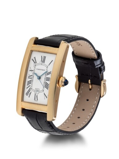 View 2. Thumbnail of Lot 101. CARTIER   TANK AMERICAINE, REF 1725 YELLOW GOLD WRISTWATCH WITH DATE CIRCA 1995.