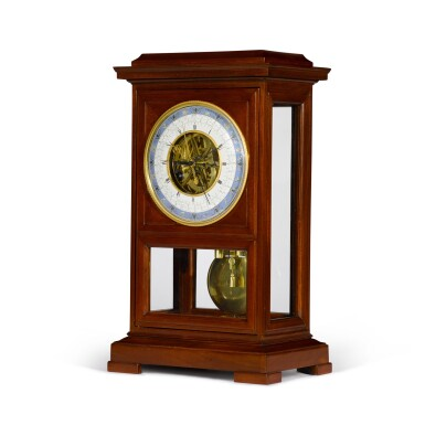 View 2. Thumbnail of Lot 60. A Consulate mahogany month-going table regulator with remontoire, equation of time and revolutionary and Gregorian calendars, Jean-Francois Cronier, Paris, dated 1800.