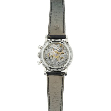 View 5. Thumbnail of Lot 41. REFERENCE 3970P A PLATINUM AND DIAMOND-SET PERPETUAL CALENDAR CHRONOGRAPH WRISTWATCH WITH MOON PHASES AND LEAP YEAR INDICATION, MADE IN 1996.