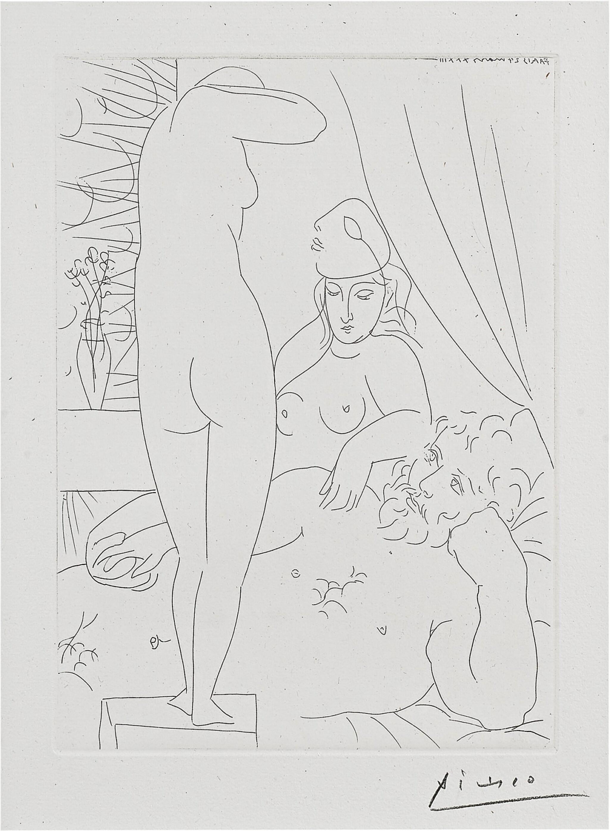 View full screen - View 1 of Lot 10. Sculpteur au repos avec modèle démasqué et sa représentation sculptée (B. 159; Ba. 312).