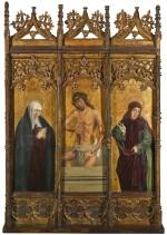 CASTILIAN SCHOOL, 15TH CENTURY | The Resurrected Christ with Mary and Saint John the Evangelist