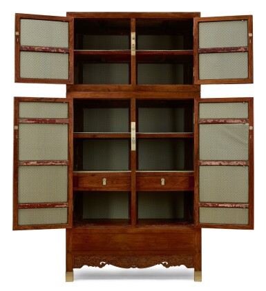 View 2. Thumbnail of Lot 88. A RARE PAIR OF HUANGHUALI COMPOUND CABINETS, SIJIANGUI MING DYNASTY, 17TH CENTURY | 明十七世紀 黃花梨雕雙龍供蓮紋四件頂箱櫃成對.