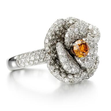 View 2. Thumbnail of Lot 164. Fancy Deep Yellowish-Orange diamond and diamond ring.