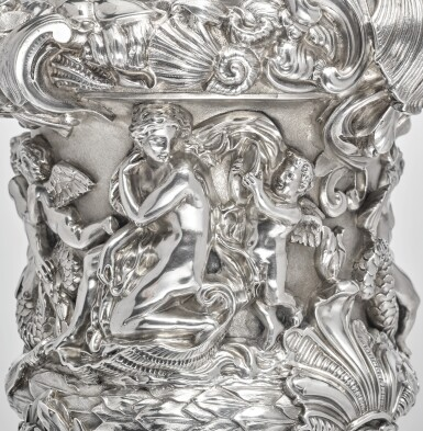 View 4. Thumbnail of Lot 7. A PAIR OF LARGE AND HEAVY EARLY VICTORIAN SILVER EWERS, FROM THE COLLECTION OF SOPHIA LOREN, JOHN FIGG, LONDON, 1838-39.