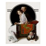 NORMAN ROCKWELL | BOY HIDING UNDER COUCH SNEEZING (THE SNEEZING SPY)