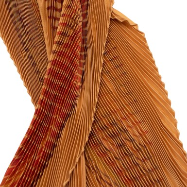 View 6. Thumbnail of Lot 190. HERMÈS | PLISSE SILK SCARF 90 IN ORANGE/RED ACCORDIAN PLEAT FAUBOURG EXPRESS PRINT. DESIGNED BY DIMITRI RYBALTCHENKO, 2009.