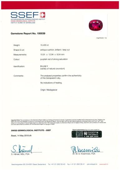 View 7. Thumbnail of Lot 1732. Ruby and Diamond Ring | 15.45克拉 天然「馬達加斯加」紅寶石 配 鑽石 戒指.