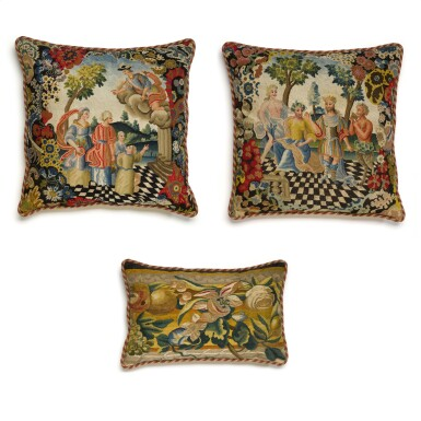 View 1. Thumbnail of Lot 24. A group of three European textiles panels, now cushions, late 17th and 18th century.