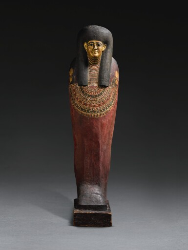 AN EGYPTIAN POLYCHROME AND GILT ANTHROPOID INNER COFFIN OF THE SISTRUM-PLAYER TA-GEM-EN-HOR, MACEDONIAN/EARLY PTOLEMAIC PERIOD, CIRCA 332-290 B.C.