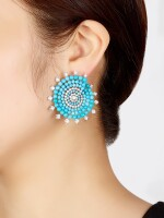 PAIR OF TURQUOISE AND DIAMOND EARRINGS | 綠松石 配 鑽石 耳環一對