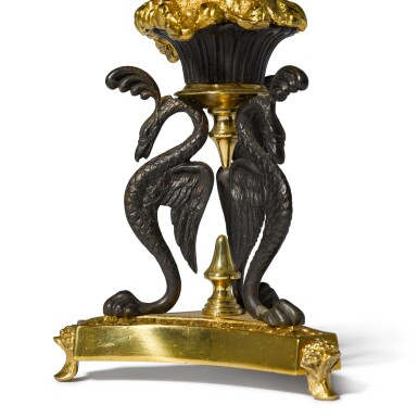 View 3. Thumbnail of Lot 91. A pair of Regency gilt-lacquered and patinated brass storm lights by Cheney London, circa 1810, after a design by G. A. Glick .