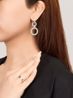 CARTIER | 'LOVE' DIAMOND RING AND PAIR OF PENDENT EARRINGS | 卡地亞 | 'Love'  鑽石戒指及耳墜一對