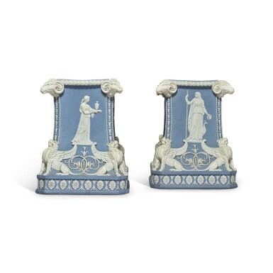 A PAIR OF WEDGWOOD BLUE AND WHITE JASPERWARE PEDESTALS LATE 18TH CENTURY