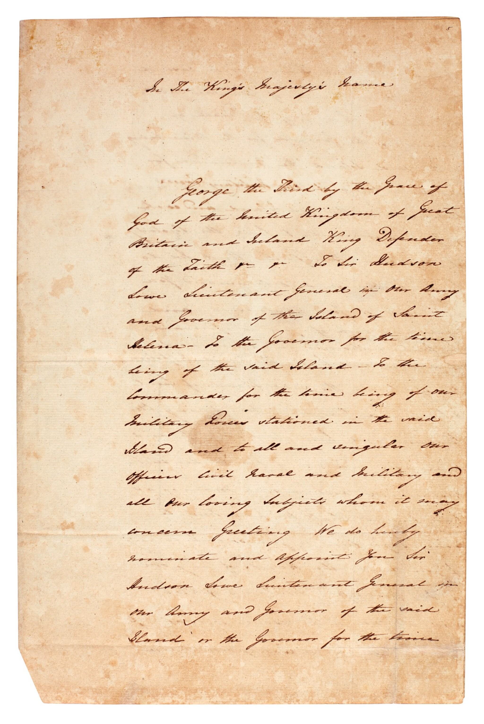 View full screen - View 1 of Lot 9. BATHURST   warrant, appointing Sir Hudson Lowe jailer to Napoleon, 1816.