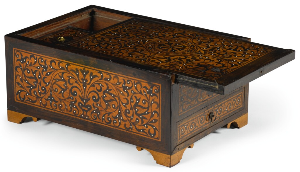 AN INDO-PORTUGUESE ROSEWOOD AND EBONY CASKET, GOA, 17TH CENTURY