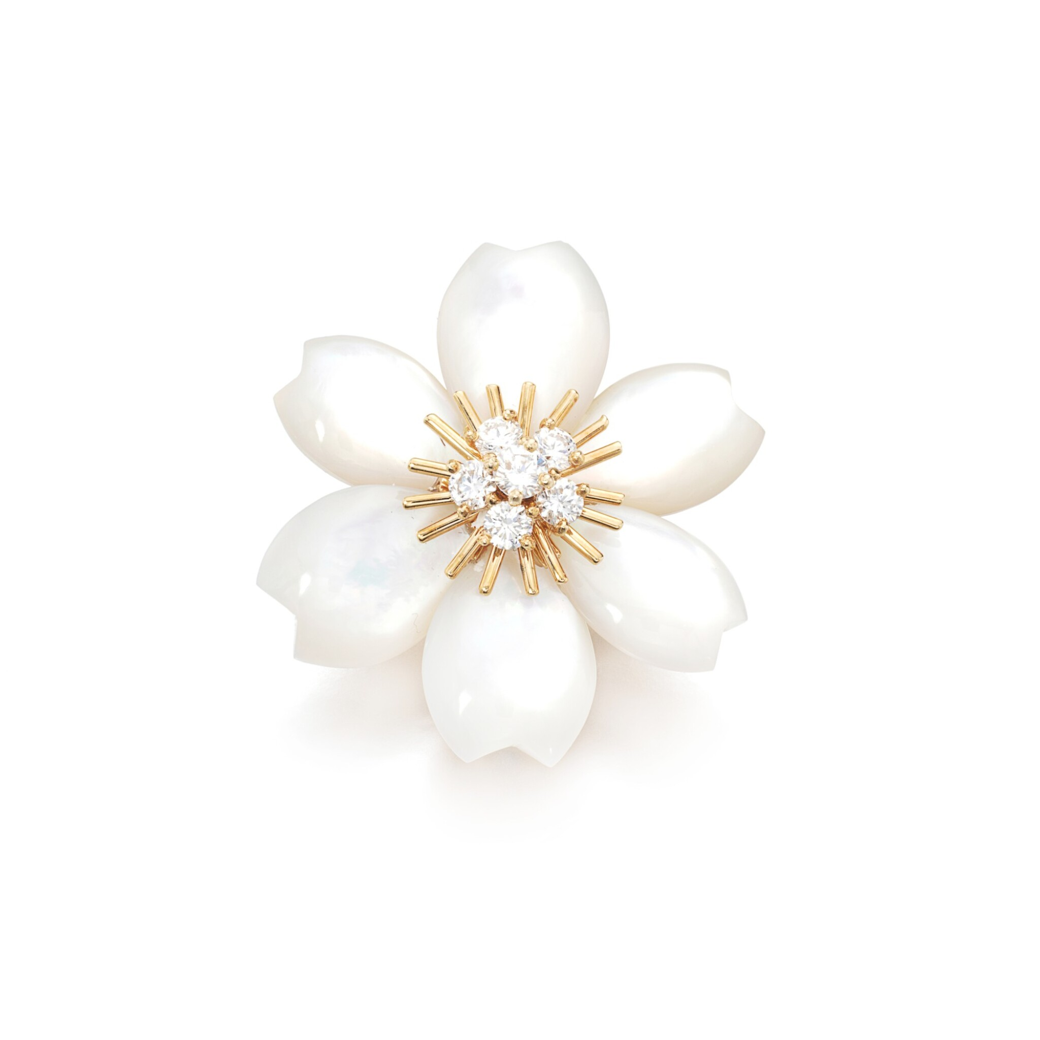 View full screen - View 1 of Lot 86. Mother-of-pearl and diamond brooch, 'Rose de Noël'.