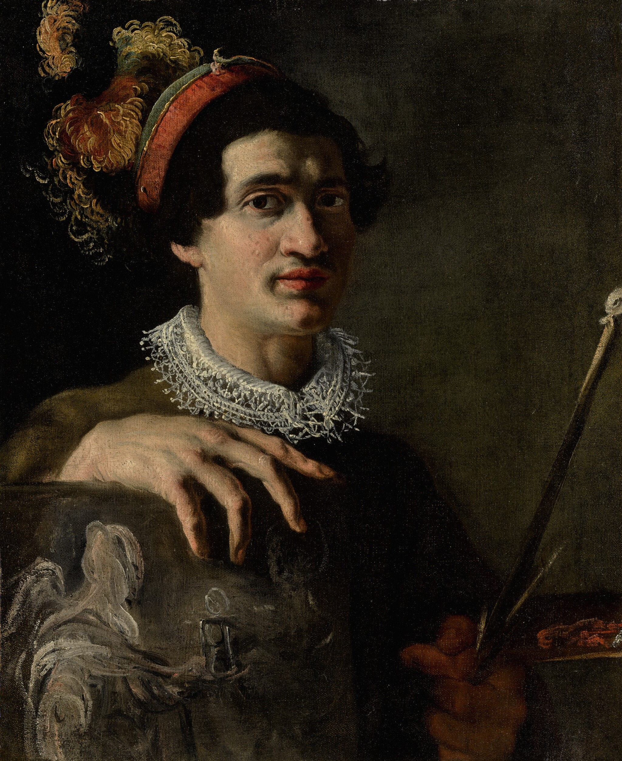 View full screen - View 1 of Lot 150. ATTRIBUTED TO ANGELO CAROSELLI | SELF-PORTRAIT WITH A CANVAS AND MAHLSTICK.