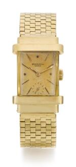 PATEK PHILIPPE | TOP HAT, REFERENCE 1450 YELLOW GOLD RECTANGULAR WRISTWATCH WITH BRACELET  MADE IN 1945