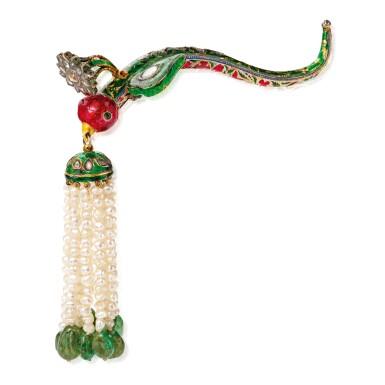 SEED PEARL, GEM-SET AND ENAMEL TURBAN ORNAMENT (TURRA) | 小顆珍珠配寶石及琺瑯彩頭巾裝飾